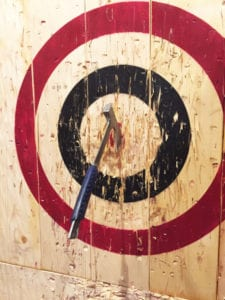 Axe throwing works out certain muscles in your arms and back